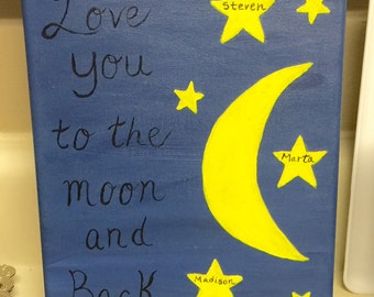 Personalized handpainted canvas Love you to the moon and back