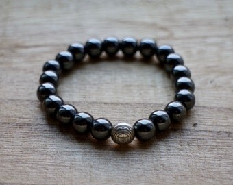 Hematite Mala Bracelet - Healing Crystals for for Protection, Grounding, Stimulation of the Mind and Negativity, Healing Crystals