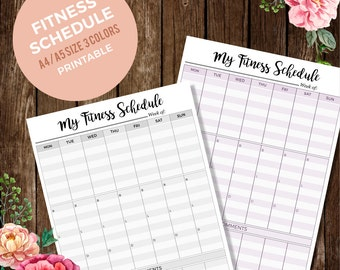 Fitness Meal Planner, Weekly Fitness Schedule, Comment To-Do Planner, Organizer, Desk Planner, A4, A5/Letter Size INSTANT DOWNLOAD