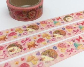 Hedgehog tape 5M cute animal washi tape fairy tale sticker tape hedgehog deco sticker tape japanese masking tape gift wrapping scrapbook