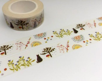 Cat in garden tape 10M black cat fire work washi tape pussy cat sticker tape cat planner sticker cat diary scrapbook meow meow gift wrapping