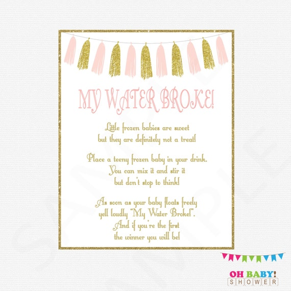 my water broke baby shower game pink and gold baby shower games