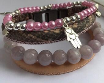 Leather Bracelet Combo with an Elastic Beaded Bracelet