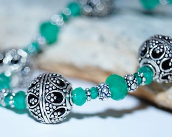 Green Onyx and Sterling Silver Bracelet
