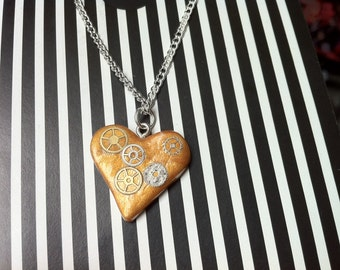 Gold Steampunk Styled Heart Charm Necklace