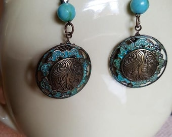Mixed Metals Turquoise Earrings