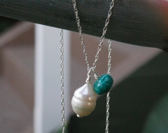 White freshwater pearl and turquoise pendant