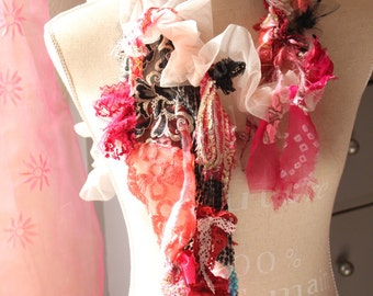 Boho Shabby chic scarf - pink pink scarf