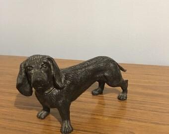Antique cast iron dachshund figurine