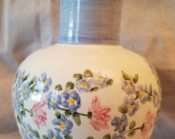 Hand Painted Floral Motif Vase Made in Mexico