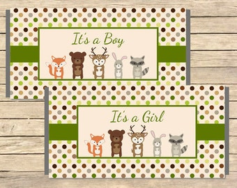 Woodland Animals Printable Candy Bar Wrappers, Forest Animals Hershey Chocolate Wrapper, Woodland Favor, DIY Instant Download, 003-A