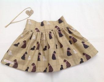 Girls Skirt, baby girl skirt, toddler skirt, dog print, handmade, classic clothing