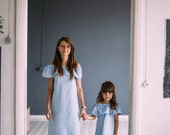 Mother and daughter matching dress Mommy and me Off shoulder dress Mom and daughter matching outfit Girl blue dress frill Girl cold shoulder