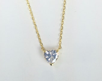 Heart Pendant Necklace, Heart Cubic Zirconia Pendant Necklace, Sterling Silver Heart Necklace