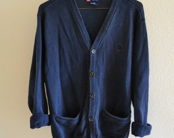 Navy Blue Cardigan Sweater Vintage Oversized 90s L