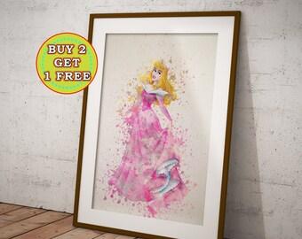 Princess Aurora Print, Sleeping Beauty, Aurora Disney, Aurora wall decor, Aurora Watercolor, Aurora Art Print, Aurora Wall Decor, OC-875