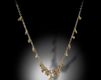"""Ceres Treasures VII -18KY gold cluster drops 16"""" necklace"""