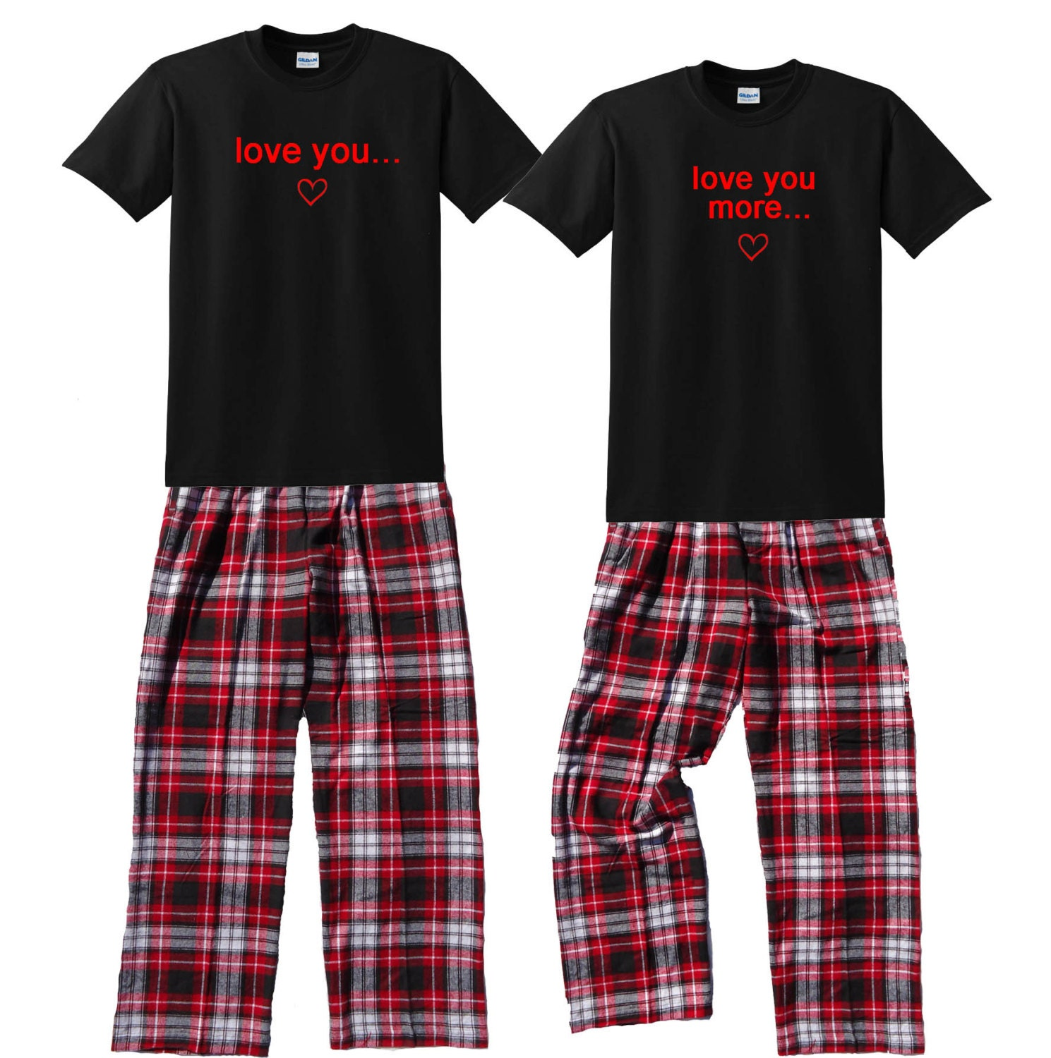 Love You Love You More Fun Matching Couples Pajamas for Him