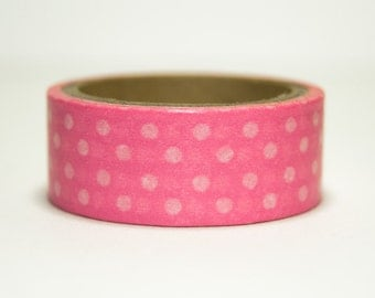 Washi Tape pink with white polka dots