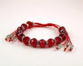 Shamball Inspired Bracelet Red Bracelet Faceted Crystal Beads Beaded Bracelet Rhinestones