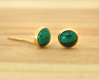 Malachite earrings, 14K Real Gold Earrings, Gold Stud Earrings, Gold Studs, Gold Jewelry, Malachite Studs, 14k Gold Earrings, green studs
