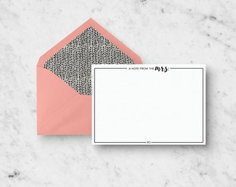 Custom Stationery Set - A Note From the Mrs. - Set of 10 A2 Notecards with Custom Envelopes - Bridal Shower Gift - Blank Note Card Set