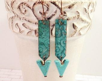 Arrow earrings, patina, embossed copper,  and ceramic earrings
