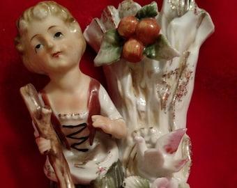 Vintage Girl and Tree Figurine