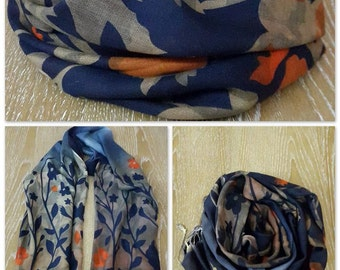 Orange Roses Cotton Scarf - MYSCF-47