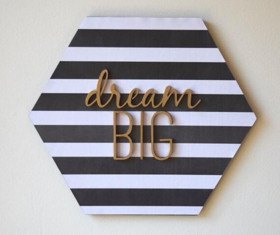 Wall Decor Hexagon : Items similar to hexagon wall art quot dream big trendy