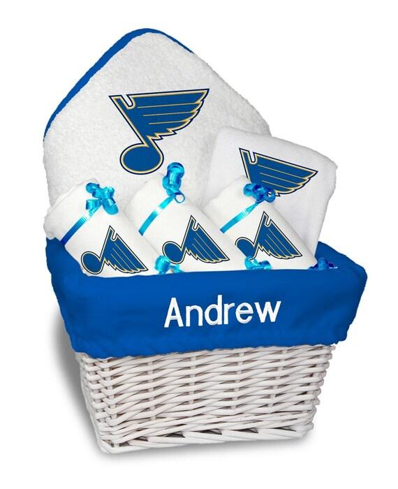 Personalized St Louis Blues Baby Gift Basket Bib 3 Burp