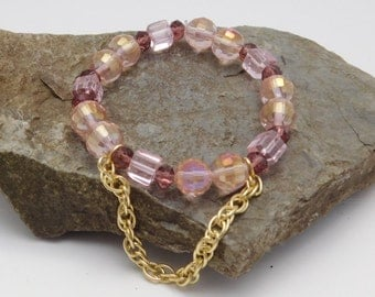 Pink beaded chain bracelet fun sparkles gold