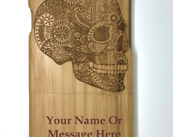 """Personalised Engraved Candy Skull design Wooden bamboo iphone 6 4.7"""" Case,Cover"""