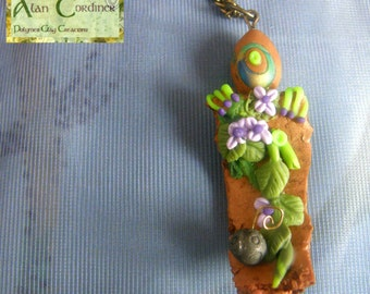 Alien Pendant,  Polymer Clay Pendant,  Polymer Clay Necklace,  Organic Pendant, Pendant Necklace