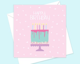 Happy Birthday Card | Cute cake female square greetings card