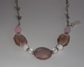 Large collar necklace pink tones