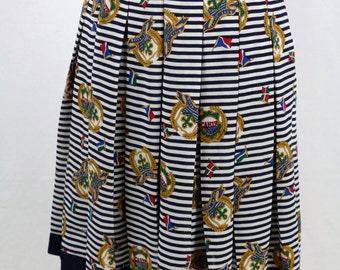 Vintage Nautical Blue White Pleat Skirt Size M