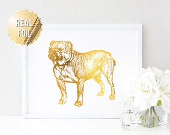 English Bulldog Illustration Print - Real Gold Foil - Dog Art Print - Bulldog Breed - English Bulldog Art - Personalized Dog Print - Pet Art