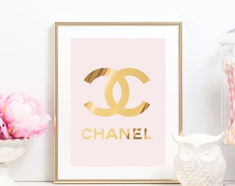 Coco Chanel Poster - Real Gold Foil Chanel Print - Coco Chanel Decor - Chanel Bedroom Decor - Gold Luxury Logo - Luxury Decor - Glam Art