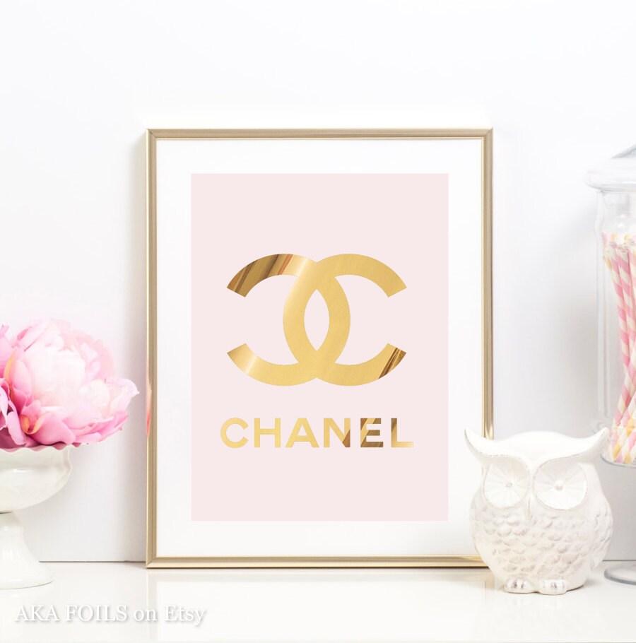 Pink And Gold Bedroom Decor Gold Foil Art Etsy