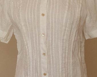 White Linen Blouse with pleats