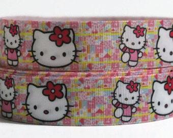 1 inch Hello Kitty Grosgrain Ribbon, Hello Kitty, Ribbon By the Yard, Light Pink Ribbon, Printed Hair bow Ribbon, High quality Ribbon, DIY