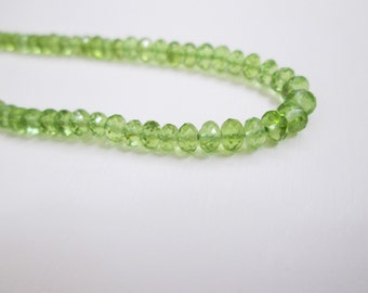 Peridot Rondelle faceted beads, 2.50-3 mm Peridot Rondelle beads, Rondelles, Peridot faceted beads,14 inches, Beading supplies,Faceted beads