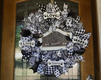 Personalized Dog Wreath, Dog Lover's Wreath, Pet Lover's Wreath, Animal Wreath, Pet Wreath, Dog Gift, Dog Decor, Dog Door Hanger