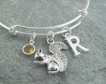 Squirrel bracelet, squirrel jewelry, adjustable silver bangle, initial bracelet, swarovski birthstone, personalized jewelry, squirrel gift