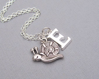 Silver snail necklace, personalized snail pendant, silver letter charm, customized gift for her, silver snail jewelry, bug necklace