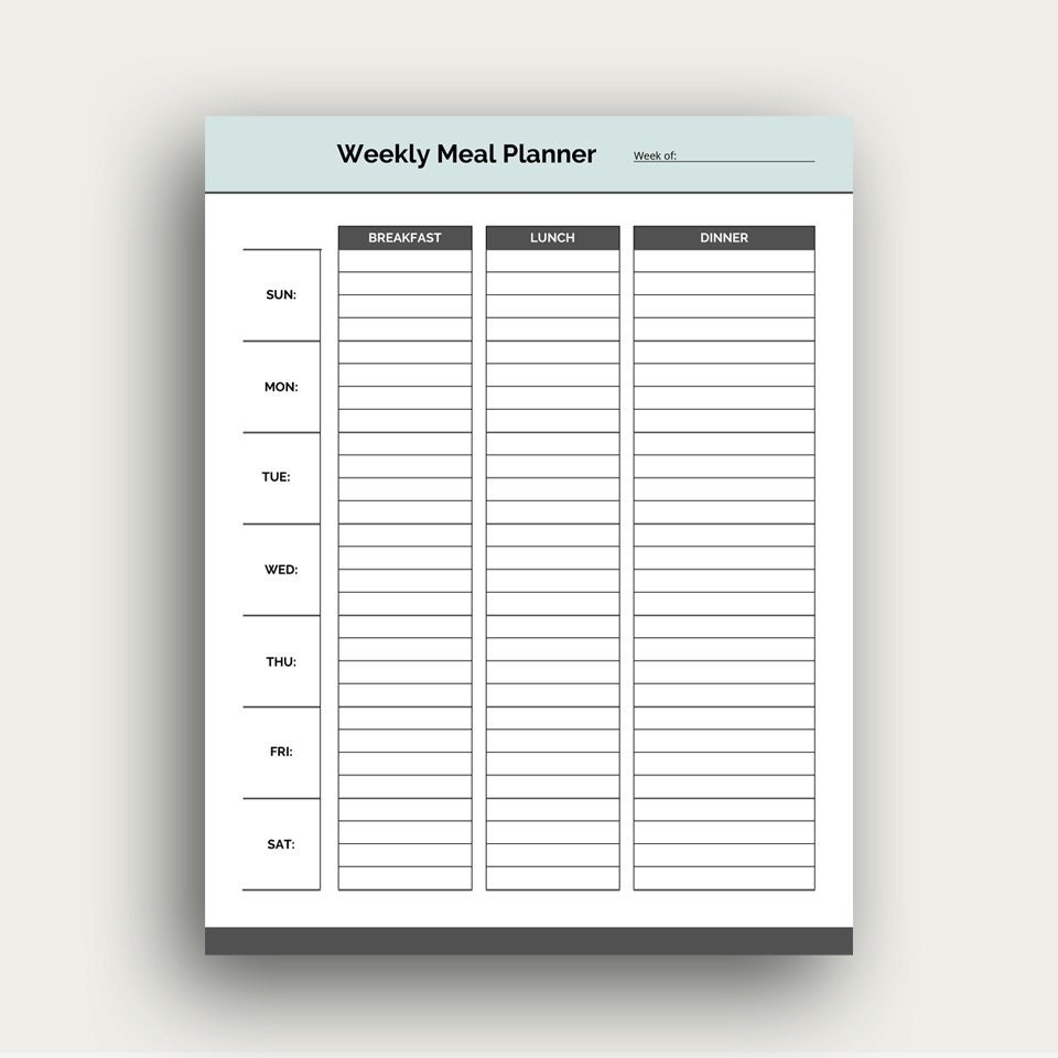Printable Weekly Meal Planners: Weekly Meal Planner Template Printable PDF Planner For Meals