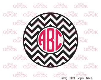 Chevron Monogram Frame SVG cut files, svg cut files for use with Silhouette, Cricut and other Vinyl Cutters, digital cut file