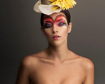 White Calla Lily Flower Mini Top Hat