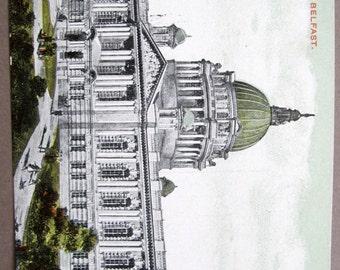 Belfast City Hall County Co. Antrim / 1910 Antique Irish Colour Postcard / Chas L Reis Unposted